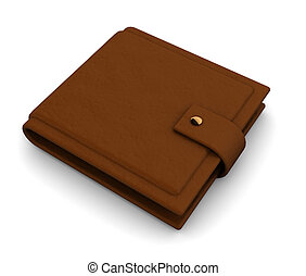 wallet - 3d illustration of brown leather wallet over white...