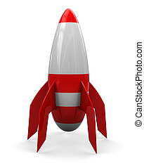 rocket - abstract 3d illustration of cartoon rocket over...