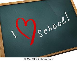 I love school - 3d illustration of 'I love school' sign at...