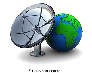 earth and radio aerial - 3d illustration of earth globe and...