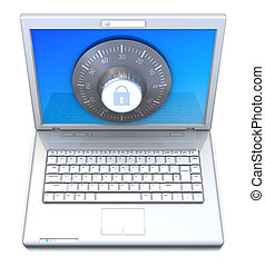 information protection - 3d illustration of laptop computer...