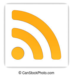 rss sign - abstract 3d illustration of rss sign on white...