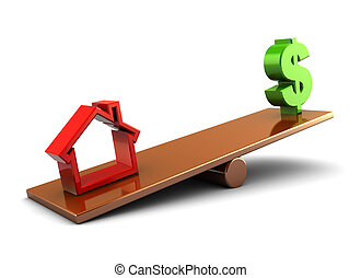 house and money - 3d illustration of house and money on...