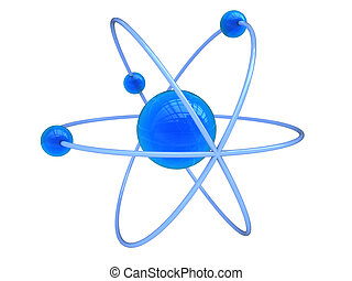 atom symbol - abstract 3d illustration of blue atom symbol,...