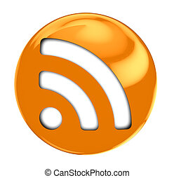 rss symbol - 3d illustration of round rss symbol isolated...