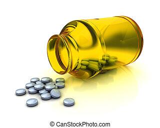 tablets - 3d illustration of medical bottle and tablets,...