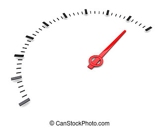 gauge - 3d illustration of generic speed gauge scale over...