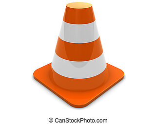road cone - 3d illustration of generic road cone over white...