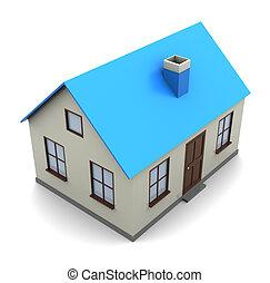 house model - 3d illustration of generic house model over...