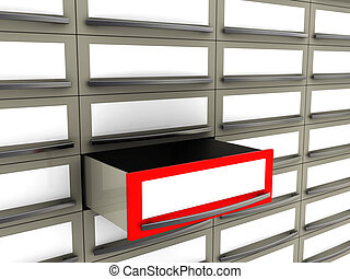 archive - abstract 3d illustration of archive with one item...