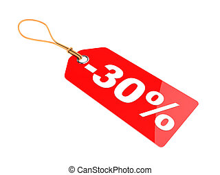 thirty percent discount tag