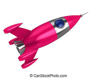pink rocket - abstract 3d illustration of toy pink rocket,...