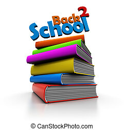 back to school - abstract 3d illustration of books stack and...