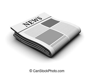 newspaper - 3d illustration of newspaper icon over white...