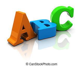 abc - 3d illustration of abc letters over white background