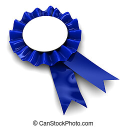 blue ribbon award - 3d illustration of blue ribbon award...