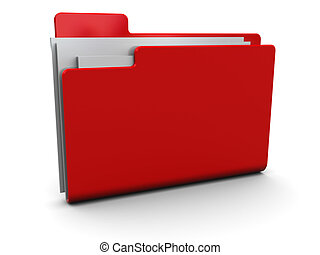 red folder - 3d illustration of red folder icon over white...