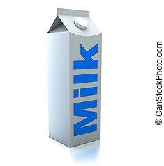 milk packet - 3d illustration of milk packet over white...