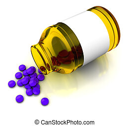 drugs - 3d illustration of drugs bottle and tablets, over...