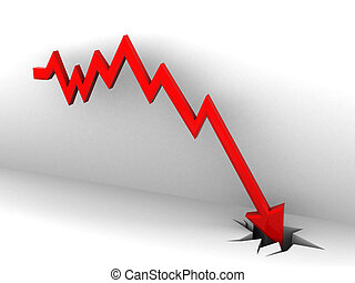 market fall diagram - abstract 3d illustration of falling...