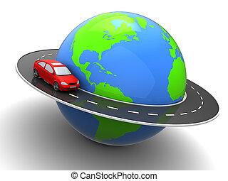 around world - 3d illustration of car on road around earth...