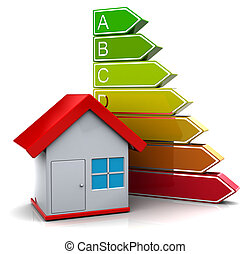 energy classification - 3d illustration of house with energy...