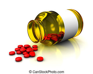 medical bottle and tablets - 3d illustration of medical...