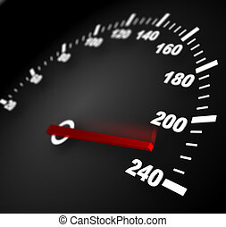 speed - 3d illustration of speedometer with moving arrow and...