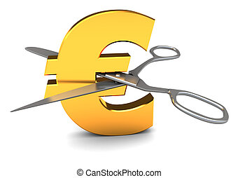 euro cut - 3d illustration of euro sign and scissors,...