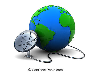 earth globe and satellite antenna - 3d illustration of earth...