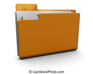 full folder icon - 3d illustration of folder with documents...