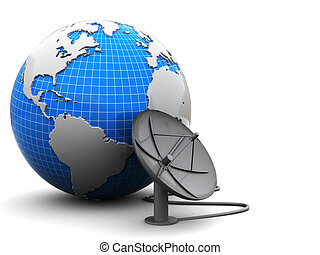 earth and radio-aerial - 3d illustration of earth globe with...