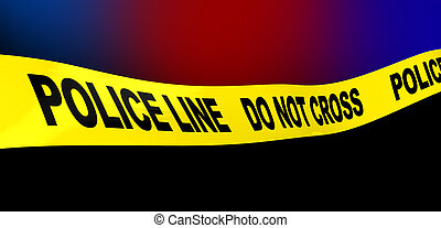police line - 3d illustration of yellow ribbon with 'police...