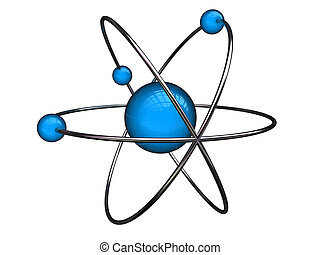 atom - abstract 3d illustration of atom structure over white...