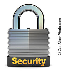 lock - 3d illustration of steel lock with security caption