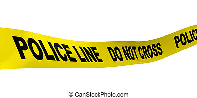 police line - 3d illustration of yellow ribbon with text...