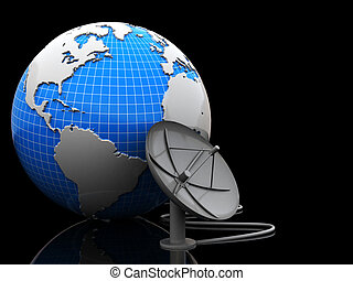 earth and satellite antenna - 3d illustration of earth and...