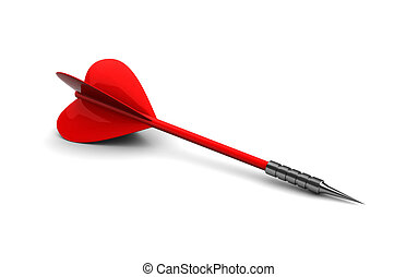 dart - 3d illustration of single red dart over white...