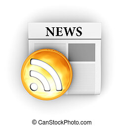 news - 3d illustration of newspaper and rss sign, electronic...