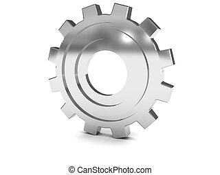 gear wheel - 3d illustration of steel gear wheel over white...