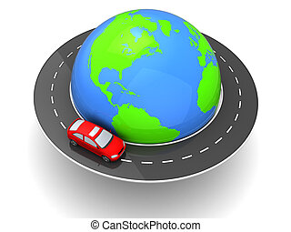 car around world - 3d illustration of car travel around...