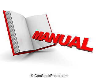 manual book - 3d illustration of opened book with text...