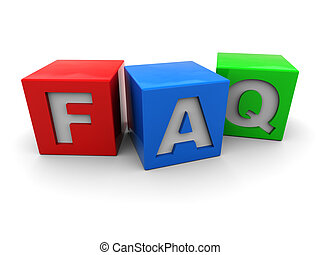 faq cubes - 3d illustration of colorful cubes with 'faq'...