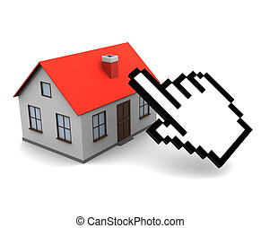 online real estate buy - 3d illustration of house and...