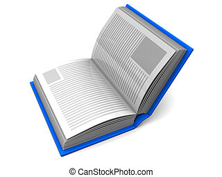 half open book - 3d illustration of book with blue cover...