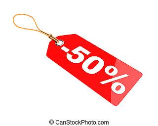 50 percent discount tag