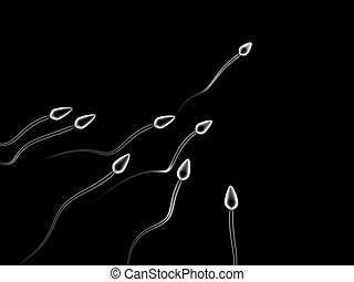 sperm competition - 3d illustration of sperm cells...