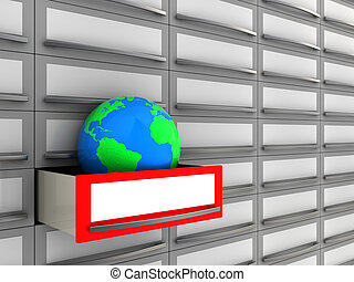 archive - abstract 3d illustration of archive box with earth...
