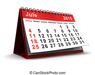 jule 2010 calendar - 3d illustration of jule 2010 desktop...