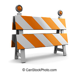 under construction barrier - 3d illustration of under...